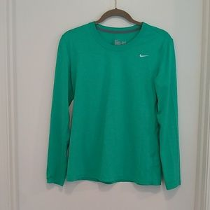 Nike Dry Fit regular fit teal long sleeved T-shirt